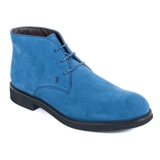 Tods Mens Ocean Blue Suede Desert Ankle Boots