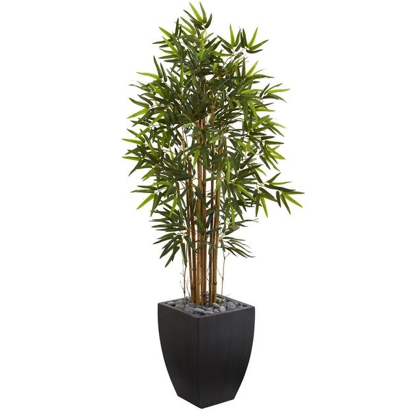 Nearly Natural 5' Bamboo Artificial Tree in Black Wash Planter