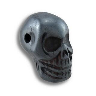 Carved Hematite Gemstone Skull Pendant 25mm 1 in.