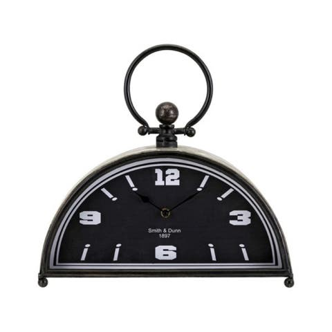 """14.5"""" Charcoal Black and Silver Color Eclectic Style Decorative Table Clock"""