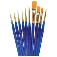 Royal Brush Light-Weight Golden Taklon Hair Acrylic Handle Ultra Short Brush Set, Assorted Size, Translucent Blue, Set of 10