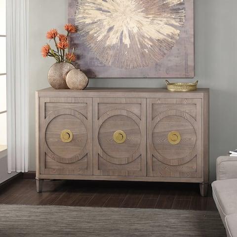 StyleCraft Brooks Grey Three-Door Straight Grain Ash Veneer Buffet Cabinet