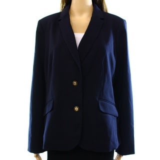 Charter Club NEW Blue Women's Size 14 Notch Collar 2-Button Blazer