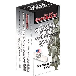 General's Non-Toxic Top Quality Charcoal Stick, 3 in, White, Pack of 12