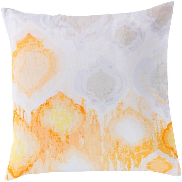 "22"" White and Orange Art Styled Contemporary Decorative Square Throw Pillow"