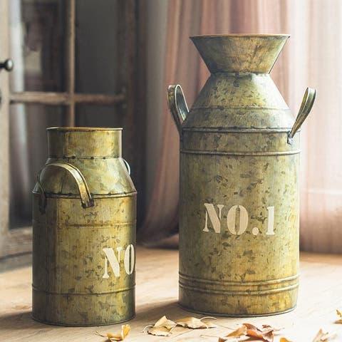 RusticReach Flower Pot Vintage Metal Milk Can Style Number