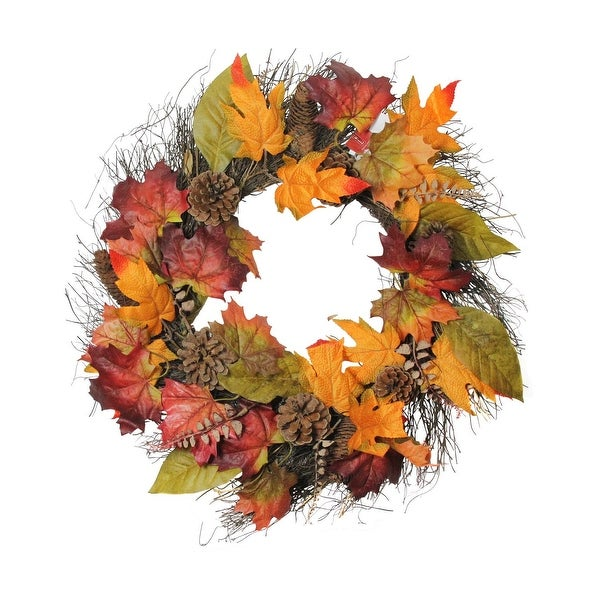 "21"" Fall Foliage with Maple Leaves, Pine Cones and Twig Base Autumn Wreath - Unlit - brown"