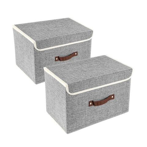 Enova Home Light Grey Fabric Storage Bins (Set of 2) - N/A
