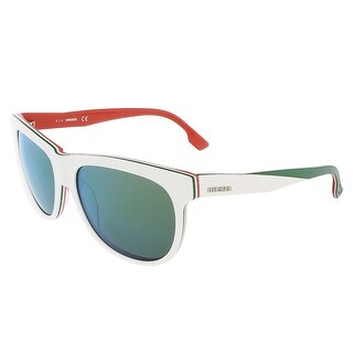 Diesel DL0112/S 24Q White/Orange&Green Rectangle sunglasses - 56-16-140
