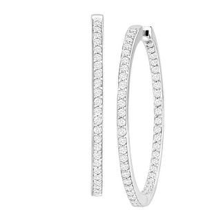 Hoop Earrings with Swarovski Zirconia in Sterling Silver - White