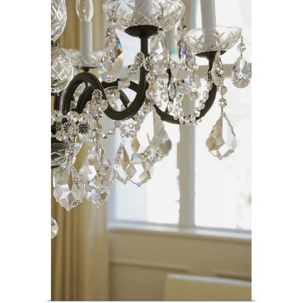 """""""Crystal glass prisms of a hanging chandelier"""" Poster Print"""