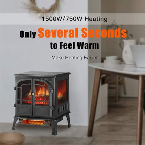 Ainfox Freestanding Fireplace Electric Space Heater with Remote Control 3D Flame Effect
