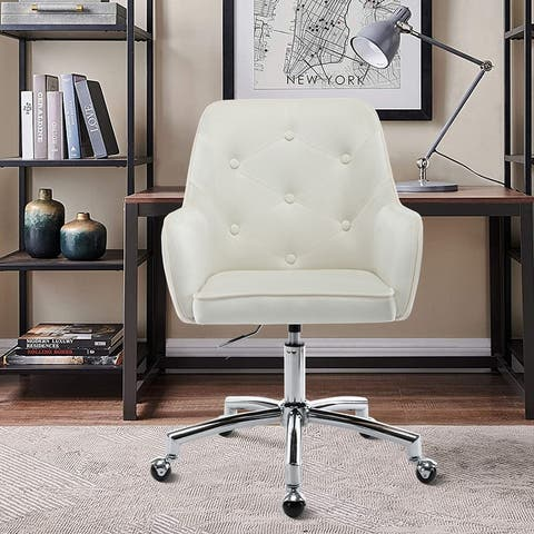 Velvet Upholstered Swivel Tufted Adjustable Height Homeoffice Task Chair With Wheels