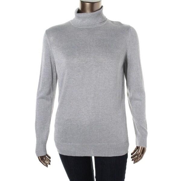 Shop Joseph A Womens Turtleneck Sweater Metallic Long Sleeves M