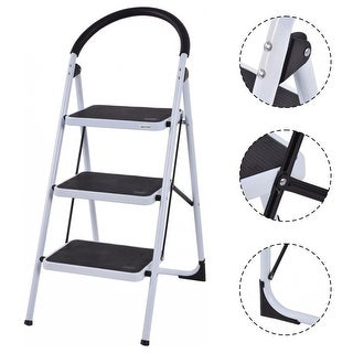 Costway 3 Step Ladder Folding Stool Heavy Duty 330Lbs Capacity Industrial Lightweight