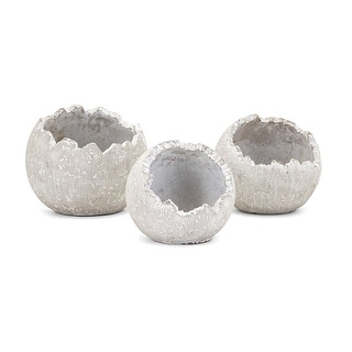 Set of 3 White Textured Oliver Decorative Cement Wall Flower Pots - N/A