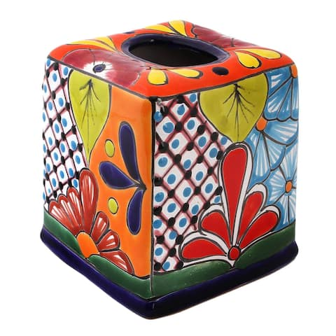 "Handmade Folk Art Convenience Ceramic Tissue Box Cover (Mexico) - 6"" H x 5.75"" W x 5.5"" D"