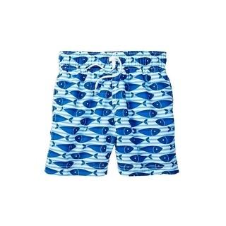 Azul Baby Boys Blue Here Fishy Fishy Print Drawstring Swim Shorts