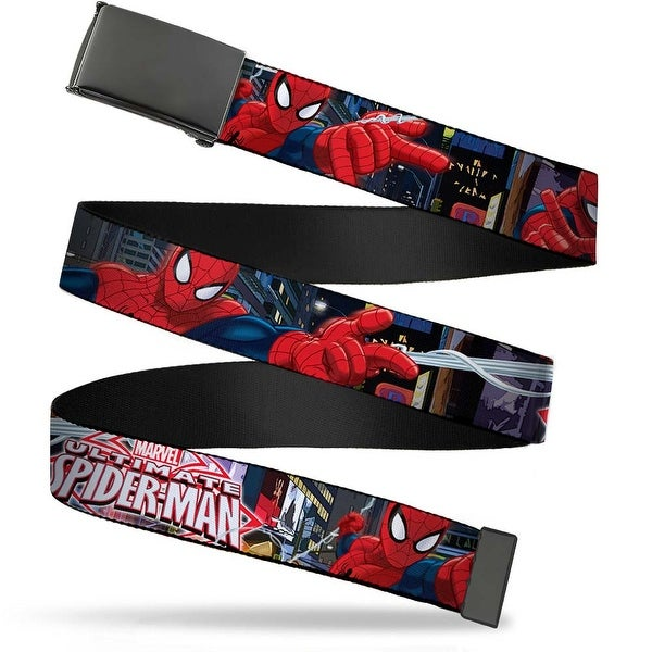Blank Black Buckle The Ultimate Spider Man Swinging City Poses Web Belt