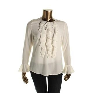 Lauren Ralph Lauren Womens Ruffled Silk Blouse