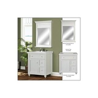 "Miseno MVDCR30COM 30"" Bathroom Vanity Set - Cabinet, Stone Top and Mirror Included - Antique White"