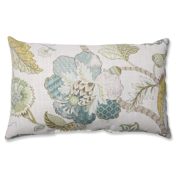 "18.5"" Blue and Cream Finders Keepers Peacock Floral Rectangular Decorative Throw Pillow"