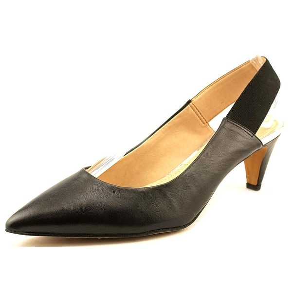 French Connection Kourtney Women  Pointed Toe Leather Black Slingback Heel