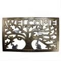 "Decorative Bronze and Silver ""Welcome"" Outdoor Rectangular Rubber Door Mat 30"" x 18"" - Thumbnail 0"
