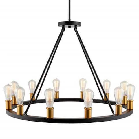 12 light round wagon wheel chandelier