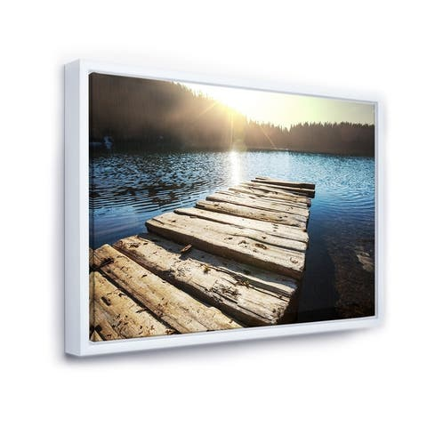 Designart 'Large Wooden Pier into the Lake' Seashore Framed Canvas Art Print