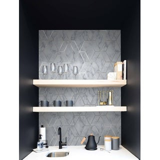 Link to NextWall Faux Marble Tile Peel and Stick Wallpaper - 20.5 in. W x 18 ft. L Similar Items in Wall Coverings