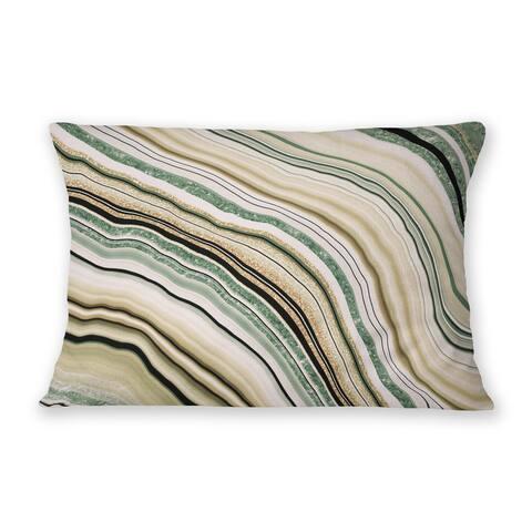 AGATE GREEN Indoor Outdoor Lumbar Pillow By Marina Gutierrez