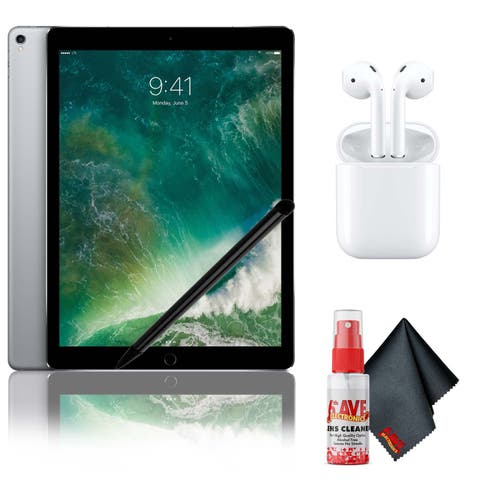 """Apple 12.9"""" iPad Pro (Mid 2017, 512GB, Wi-Fi + 4G LTE, Space Gray) with Airpods 2, Stylus and Cleaning Kit"""