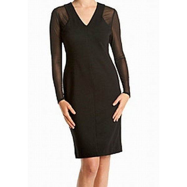 42835eaf Shop Calvin Klein NEW Black Women's Size 2 Illusion V-Neck Sheath Dress -  Free Shipping On Orders Over $45 - Overstock - 18359669