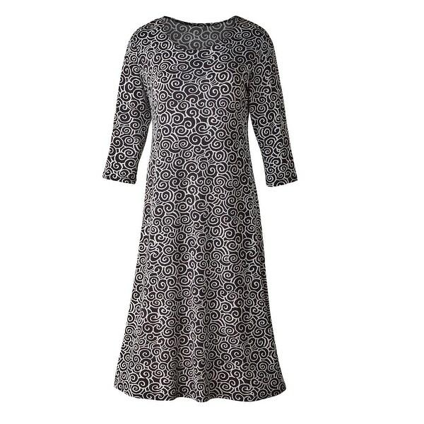 Women's A-Line Dress - Simple Swirls Black & White - 3/4 Sleeves