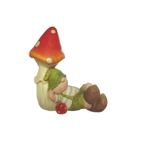 "8.25"" Young Boy Gnome Under a Mushroom Spring Outdoor Garden Patio Figure"