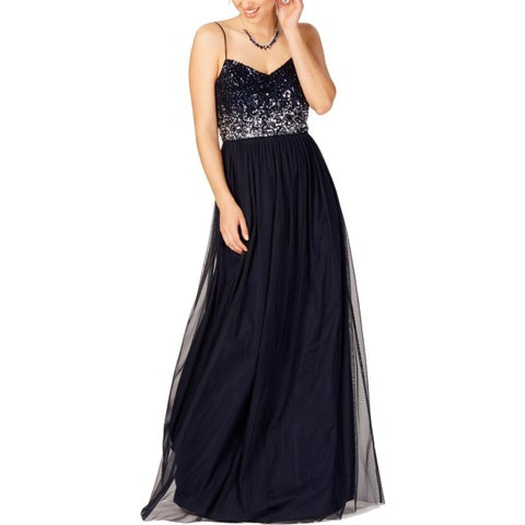 Adrianna Papell Womens Evening Dress Sequined Party