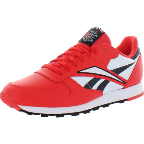 Reebok Mens Classic MU Running Shoes Leather Track - Black/Radiant Red/White