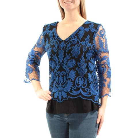 KAREN KANE Womens Blue Embroidered Lace 3/4 Sleeve Tiered Top Size: M