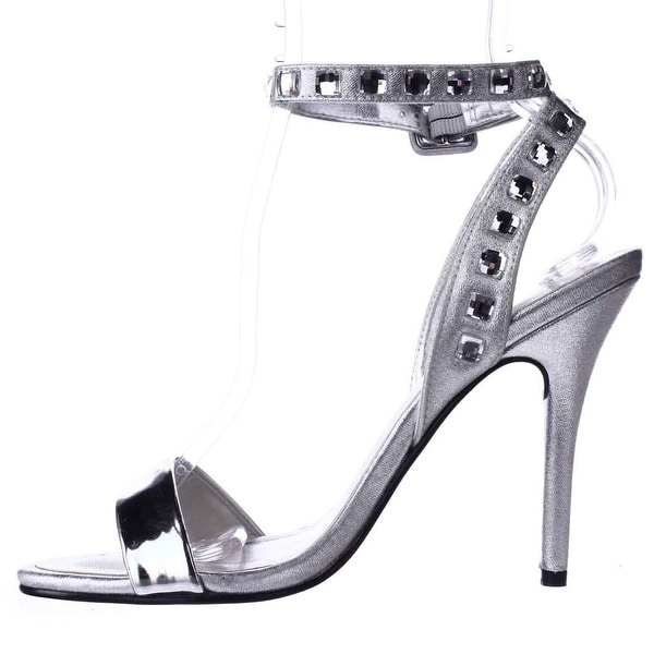 Caparros Womens cassidy Open Toe Casual Ankle Strap Sandals, Silver, Size 7.5