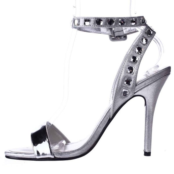 Caparros Womens cassidy Open Toe Casual Ankle Strap Sandals, Silver, Size 9.0