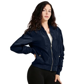 NE PEOPLE Womens Basic Quilted Zip Up Bomber Jacket [NEWBJ20]