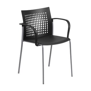 Offex HERCULES Series 551 lb. Capacity Black Stack Chair with Air-Vent Back and Arms