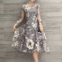 Floral Chiffon Evening Dress