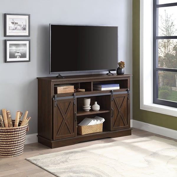 Shop Belleze 52 Tv Stand Sliding Barn Door Console Entertainment Center Overstock 31288111 Sargent Oak