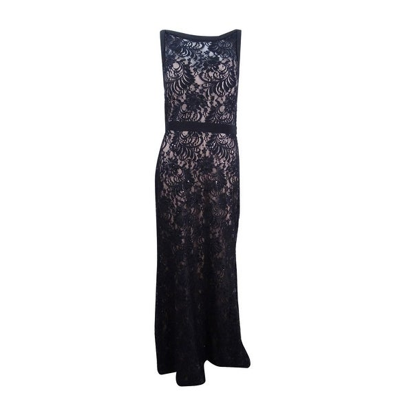 Shop Nightway Womens Illusion Sequined Lace Train Gown Blacknude