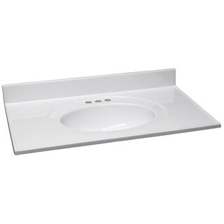 "Design House 552059 49"" Marble Drop-In Vanity Top with Integrated Sink and 3 Fau - Solid White"