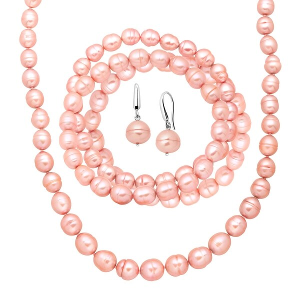 Pink Freshwater Ringed Pearl Earring, Bracelets & Necklace Set in Sterling Silver