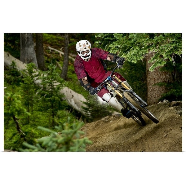 """Mountain biker leaning into high speed berm"" Poster Print"