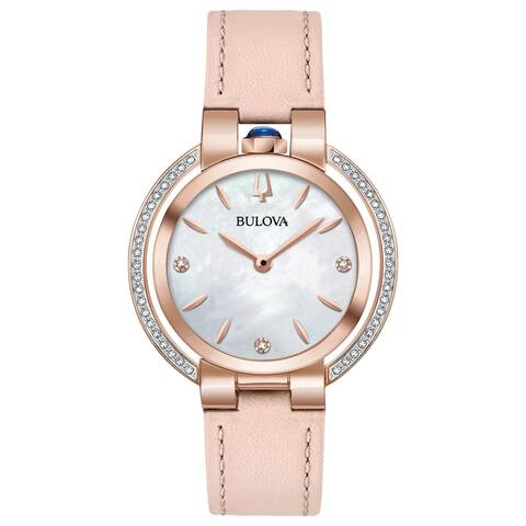 Bulova Women's 98R267 Rubaiyat Rosegold Diamond Accent Pink Leather Strap Watch - Rosetone